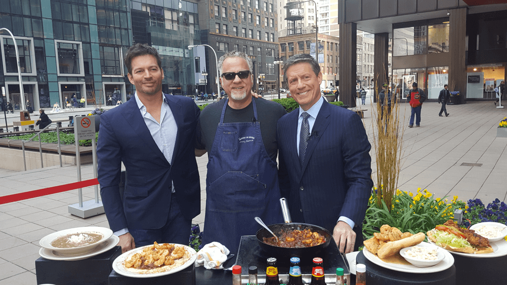 Chef Jimmy Bannos cooks for Harry Connick Jr.
