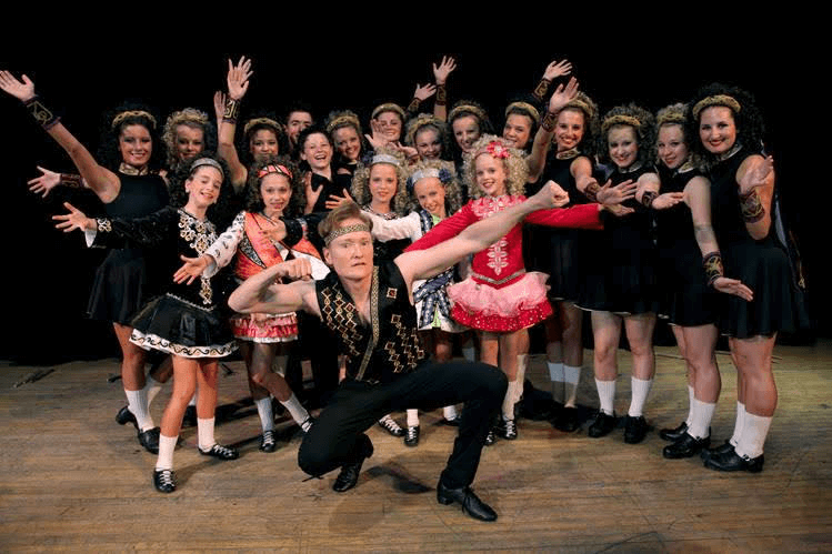 Conan O'Brien tours Chicago with the Trinity Irish Dancers